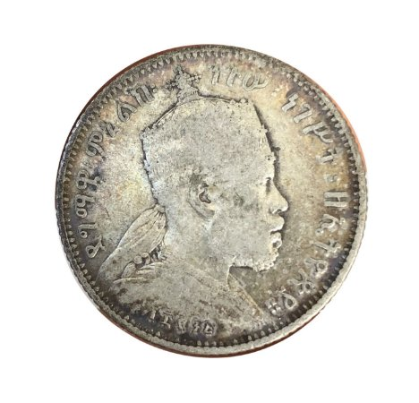 Moeda Antiga da Etiópia 1/4 Birr 1895