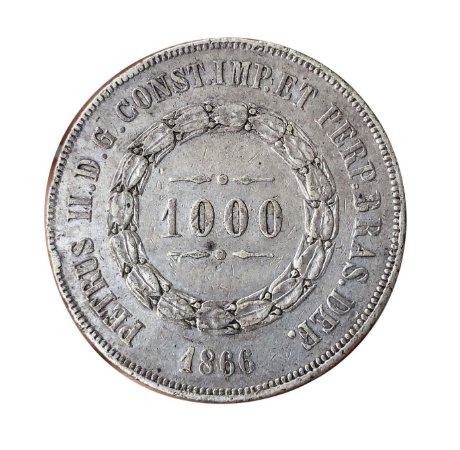 Moeda Antiga do Brasil 1000 Réis 1866