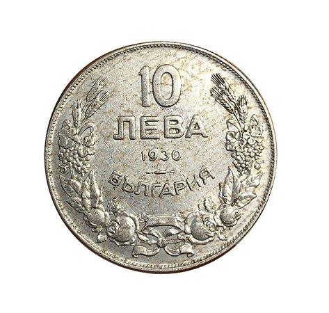 Moeda Antiga da Bulgária 10 Leva 1930