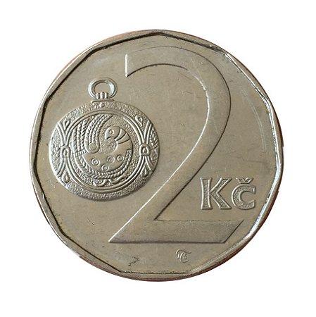 Moeda Antiga da República Tcheca 2 Koruny 1993