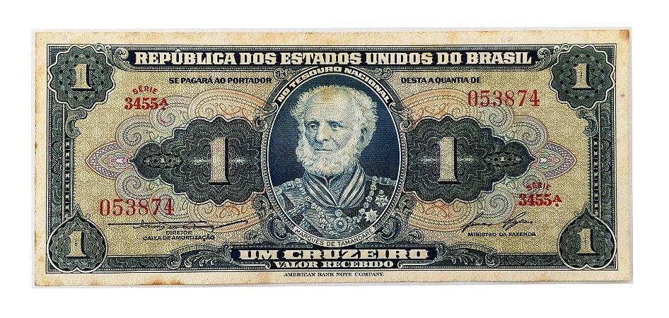 Cédula Antiga do Brasil 1 Cruzeiro 1958 - Marquês de Tamandaré