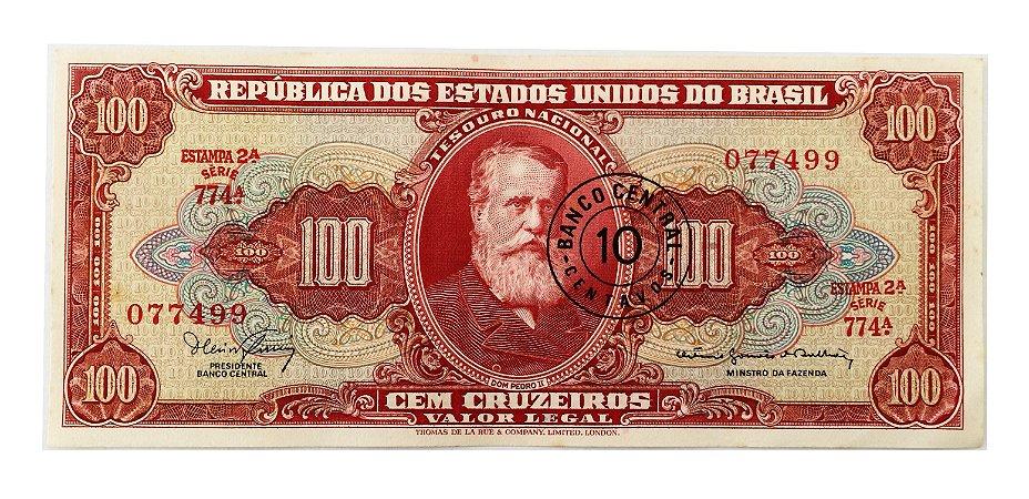 Cédula Antiga do Brasil 10 Centavos de Cruzeiro 1966 - Dom Pedro II