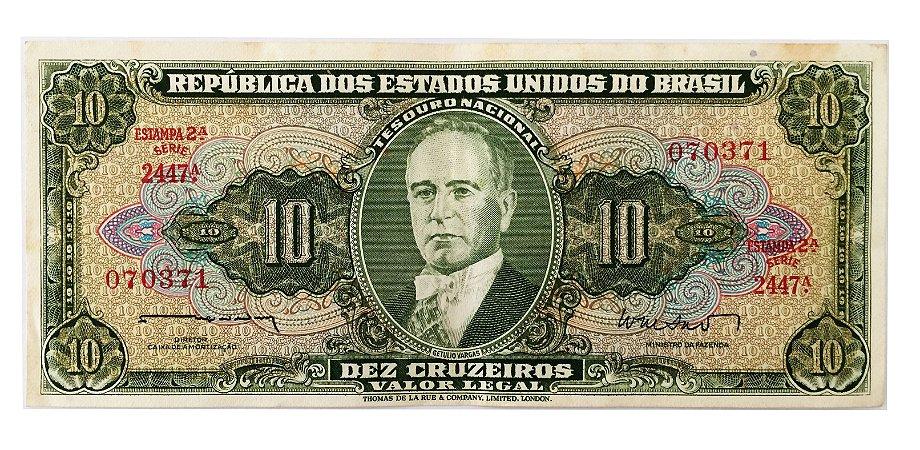 Cédula Antiga do Brasil 10 Cruzeiros 1962 - Getúlio Vargas