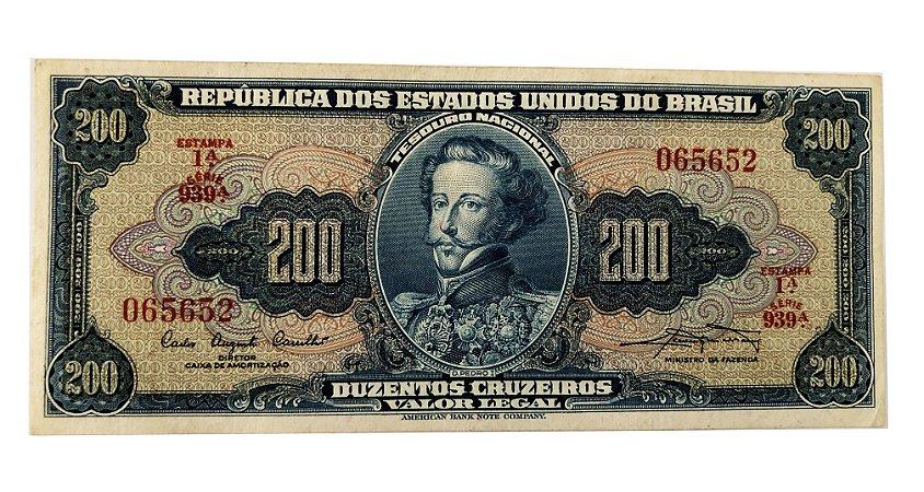 Cédula Antiga do Brasil 200 Cruzeiros 1961 - D. Pedro I