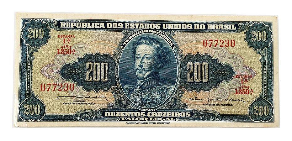 Cédula Antiga do Brasil 200 Cruzeiros 1964 - D. Pedro I