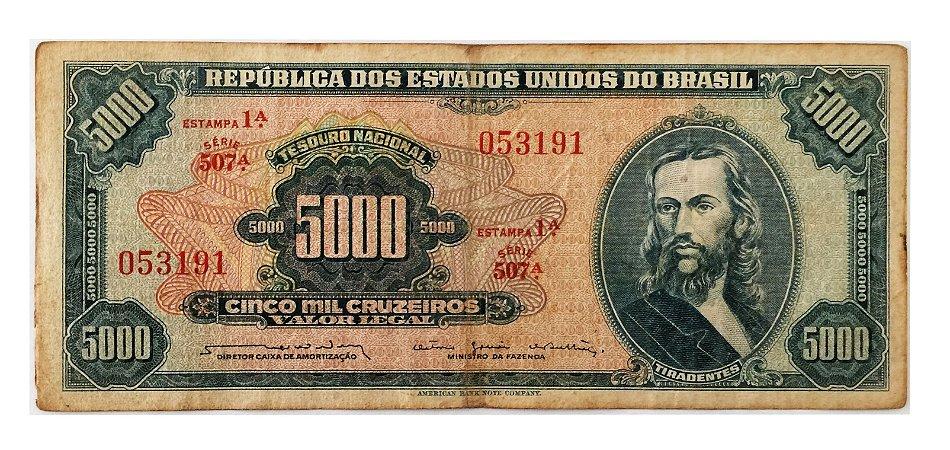 Cédula Antiga do Brasil 5000 Cruzeiros 1964 - Tiradentes