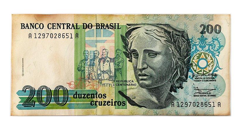 Cédula Antiga do Brasil 200 Cruzeiros 1990 - 1º Centenário da República