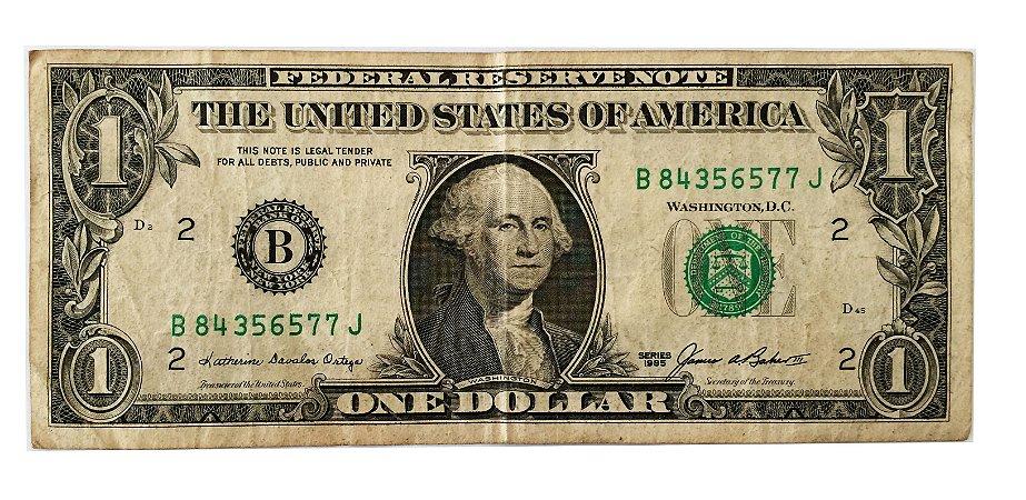 Cédula Antiga dos Estados Unidos $1 1985 - Washington