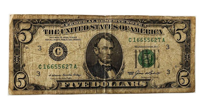 Cédula Antiga dos Estados Unidos $5 1985 - Lincoln