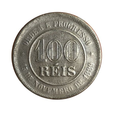 Moeda Antiga do Brasil 100 Réis 1899 - Cunho Raso