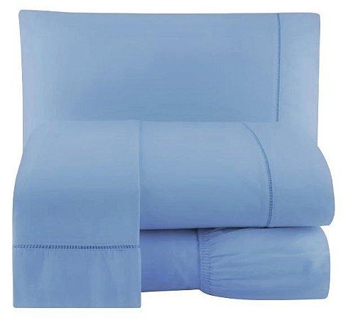 Jogo Lençol Percal 200 Fios Ponto Palito Cama Casal 4pçs Azul