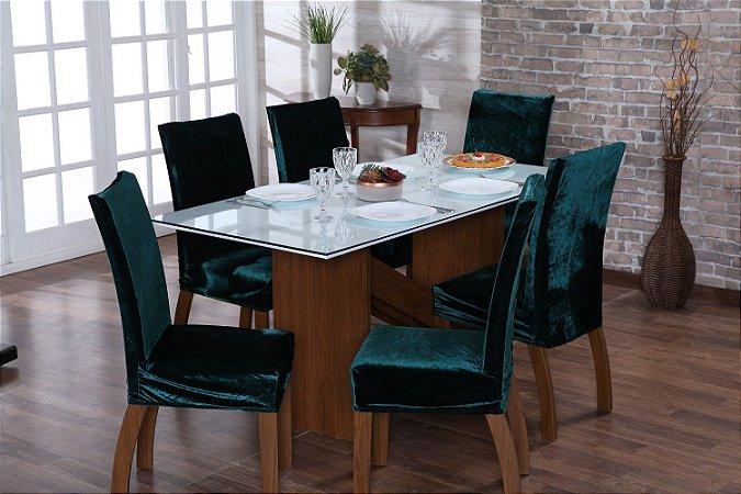 Capa para Cadeiras em Veludo para Sala de Jantar 6 Peças Esmeralda