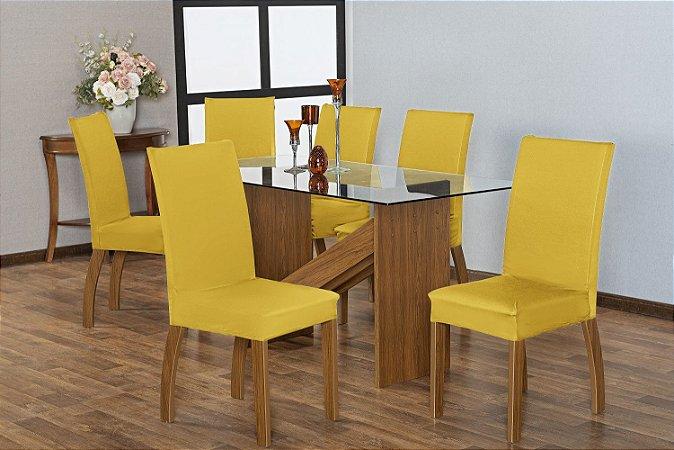 Capa para Cadeiras em Malha para Sala de Jantar 4 Peças Amarela