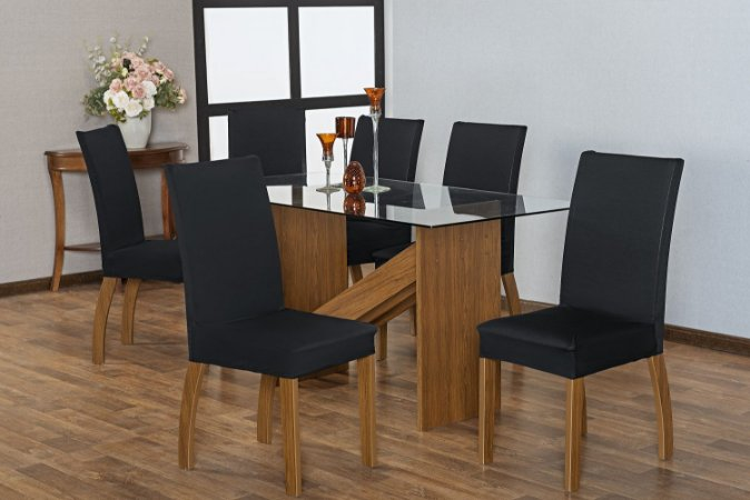 Capa para Cadeiras em Malha para Sala de Jantar 6 Peças Preto