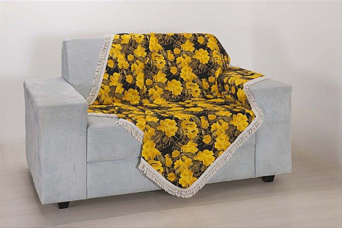 Xale De Sofá Decoração Sala Jacquard 2,90X1,50 Amarelo Flor