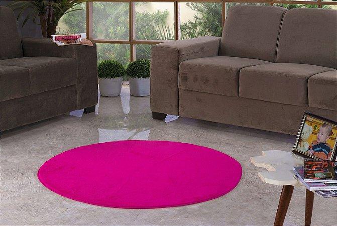 Tapete Para Sala e Quarto Pelúcia Liso Redondo Pink