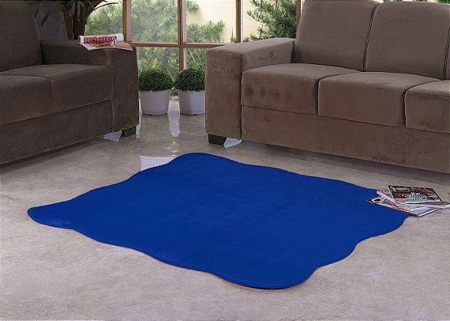 Tapete Para Sala e Quarto Pelúcia Liso Ondulado Azul Royal