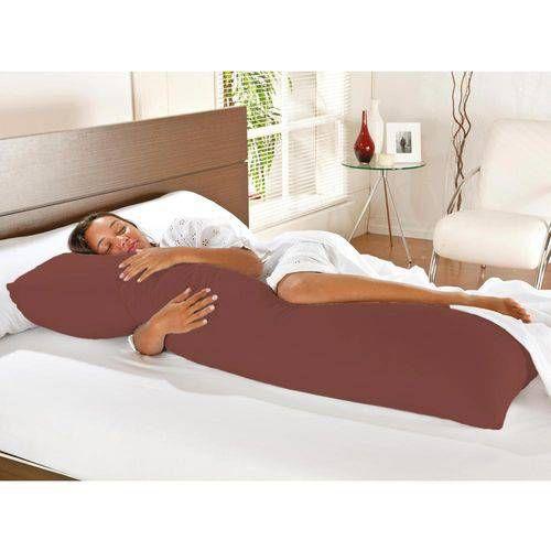 Travesseiro De Corpo Com Fronha Mega 100% Algodão Tabaco