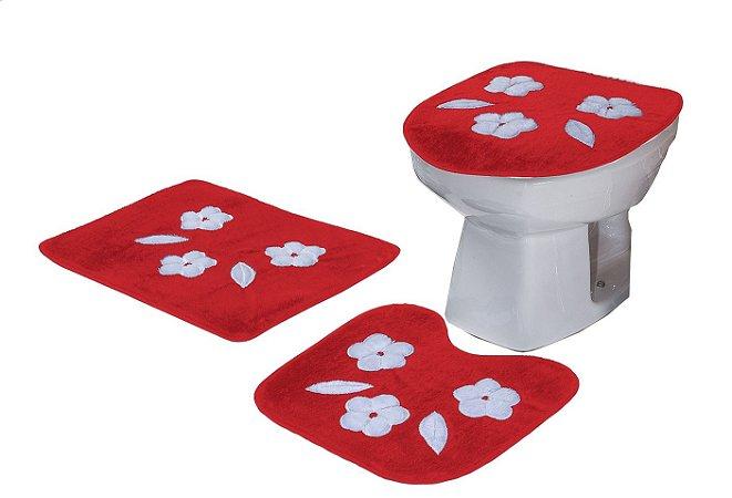 Jogo De Banheiro Três Margaridas Em Pelúcia 03 Peças Vermelho