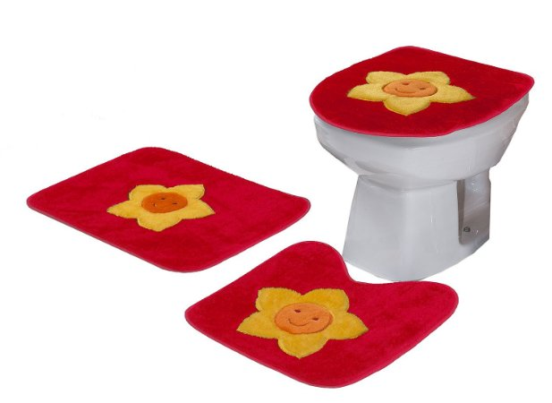 Jogo De Banheiro Sol Em Pelúcia 03 Peças Vermelho