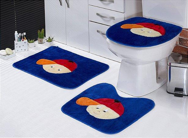 Jogo De Banheiro Menininho Em Pelúcia 03 Peças Azul Escuro