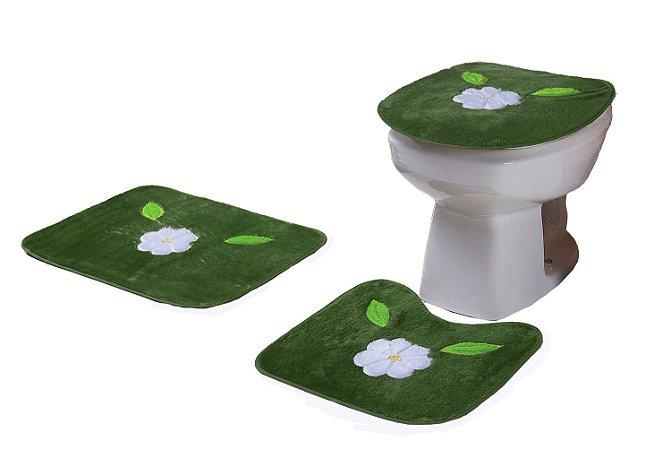 Jogo De Banheiro Flor Margarida Em Pelúcia 03 Peças Verde