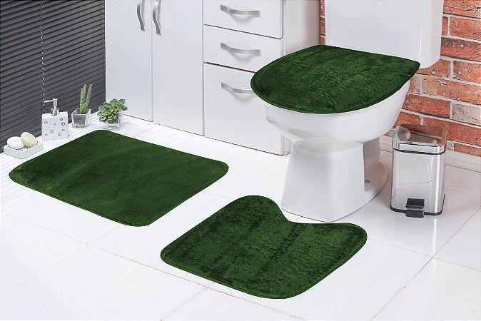 Jogo De Banheiro Liso Em Pelúcia 03 Peças Verde Musgo