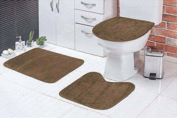 Jogo De Banheiro Liso Em Pelúcia 03 Peças Castor
