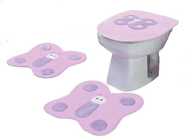 Jogo De Banheiro Borboletas Em Pelúcia 03 Peças Rosa
