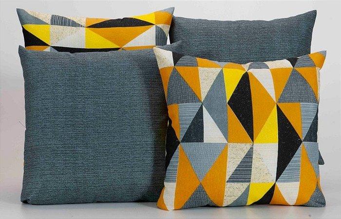 Kit com 4 Capas Para Almofadas Decorativas Estampa Geométrico Cinza com Amarelo