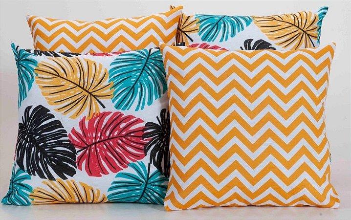 Kit com 4 Capas Para Almofadas Decorativas Estampa Folhas Coloridas com Ziguezague Laranja