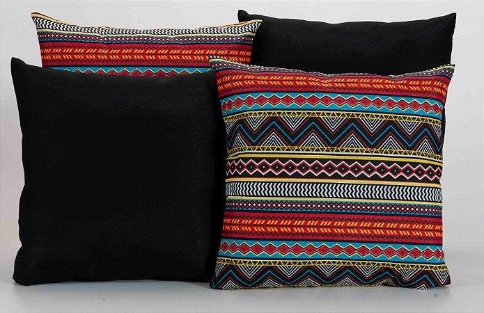 Kit com 4 Capas Para Almofadas Decorativas Estampa Preta com Listras Coloridas