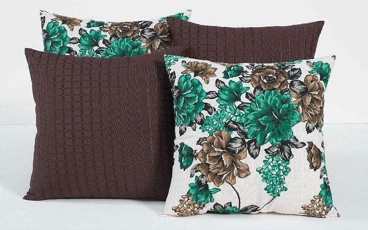 Kit com 4 Capas Para Almofadas Decorativas Estampa Tabaco com Flores Verde Marinho