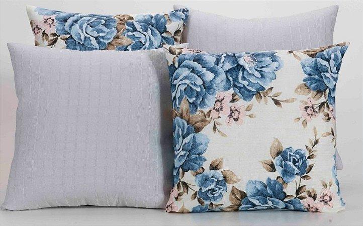 Kit com 4 Almofadas Decorativas Estampa Branco com Flores Azuis