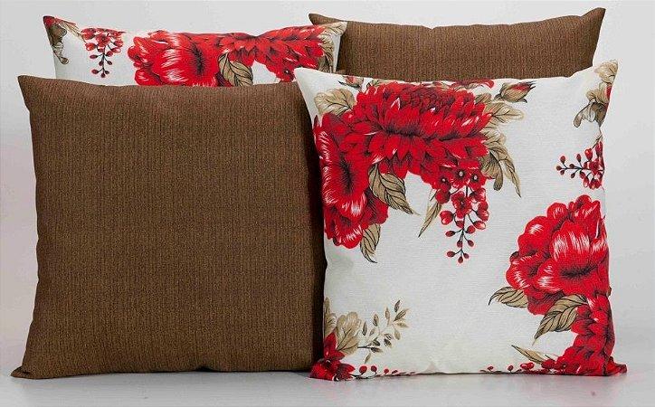 Kit com 4 Almofadas Decorativas Estampa Marrom com Flores Vermelhas