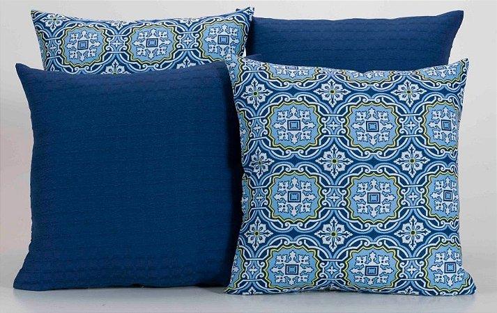 Kit com 4 Almofadas Decorativas Estampa Crystal Azul