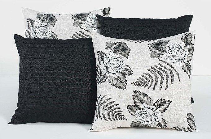 Kit com 4 Almofadas Decorativas Estampa Flores Preto e Branco