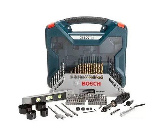 Kit Ferramentas Bosch 100 Peças X-line Titânio Com Maleta