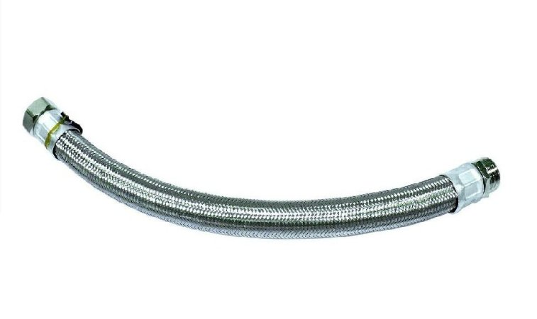 """Tubo Flexível Aço Inox M/F 1"""" x 80cm com Conexões em Bronze niquelado Rowa"""