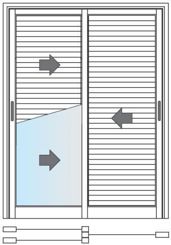 Porta De Correr 03 Folhas (2 Folhas Veneziana e 1 Folha Vidro)