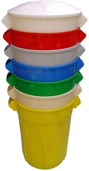 Cesto de Lixo Redondo Plástico com Tampa - JSN (Capacidade 20, 40, 60 e 100 litros)