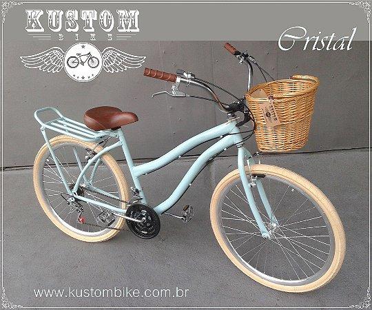Bicicleta Feminina Vintage Retrô - Azul Cristal - c/ Cestinha Vime