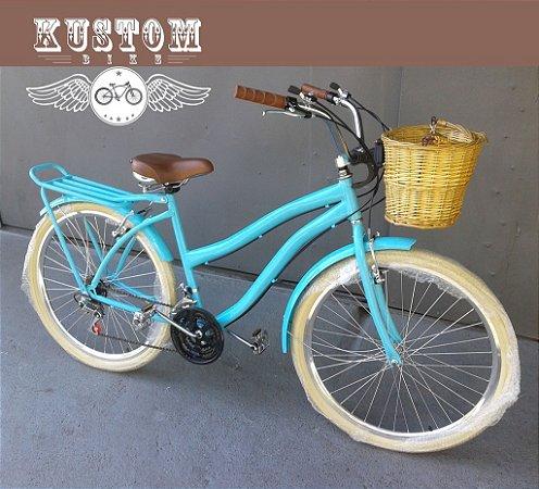 Bicicleta Feminina Tiffany Vintage Retrô c/ Cestinha Vime e Bagageiro Traseiro