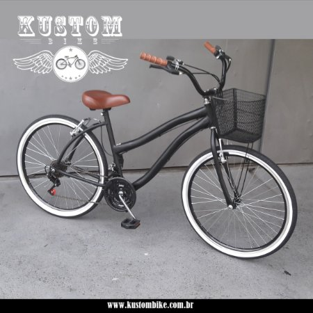 Bicicleta Retrô - Vintage Inspired Harley Feminina Selim Tipo Couro Marrom