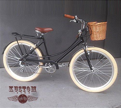 Bicicleta Retrô Vintage - Estilo Caloi Ceci Antiga Cor Preta
