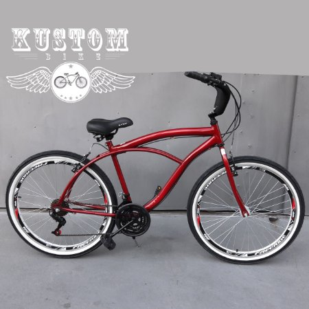 Bicicleta Beach Bike Cruiser Vermelho Cereja - Rodas Aro Aero 26 Retrô Vintage Caiçara