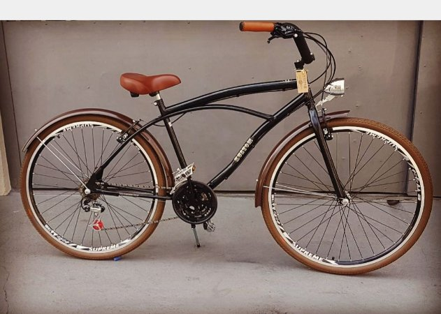 Bicicleta Cruiser Aro 29 - Beach Bike Caiçara - Retrô Vintage Inspired Harley Pneus Creme Aro 700