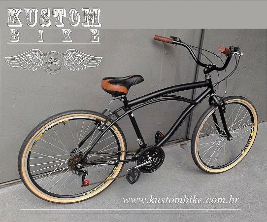 Bicicleta Cruiser - Beach Bike Caiçara - Retrô Vintage Inspired Harley Pneus faixa marrom