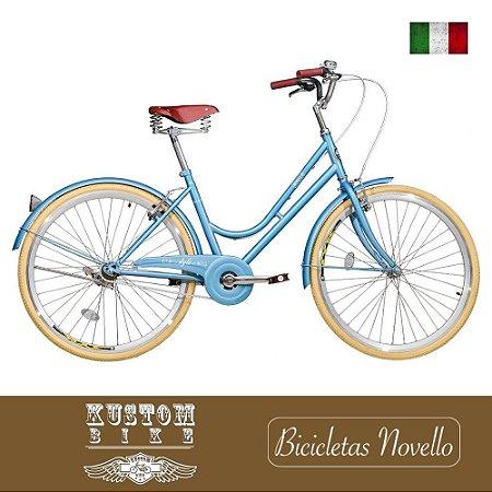 Bicicleta Vintage Novello Style Retrô Feminina Azul