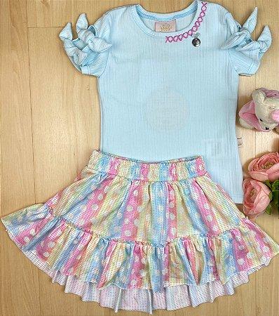 Conjunto Infantil Menina Arco-íris de Bolinha - Kiki xodó